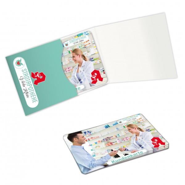 Karten Verpackung - Modell Folder mit bedruckten Plastikkarten