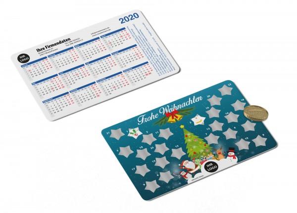 Plastikkarten mit Adventskalender und Rubbelfeldern