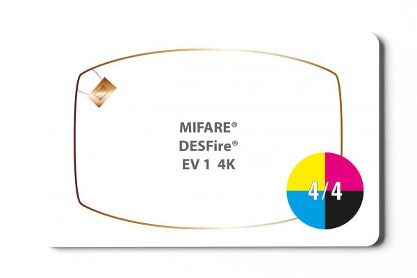 MIFARE® DESFire® EV1 4K Karte- 4/4 farbig bedruckt